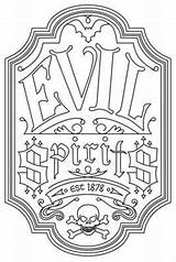 Halloween Coloring Embroidery Pages Evil Adult Patterns Labels Label Spirits Apothecary Books Paper Crafts Visit Stitch Urban Threads sketch template