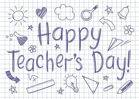 happy teachers day greeting card  squared copybook sheet
