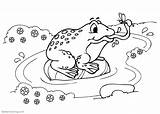 Pond Frog Coloring Pages Bug Catching Printable Adults Friends sketch template