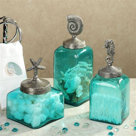 Aqua Colored Bathroom Accessories by Sealife Glass Canister Set Aqua Set Of Three My Style