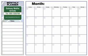time table templates galway maths grinds With monthly organiser template