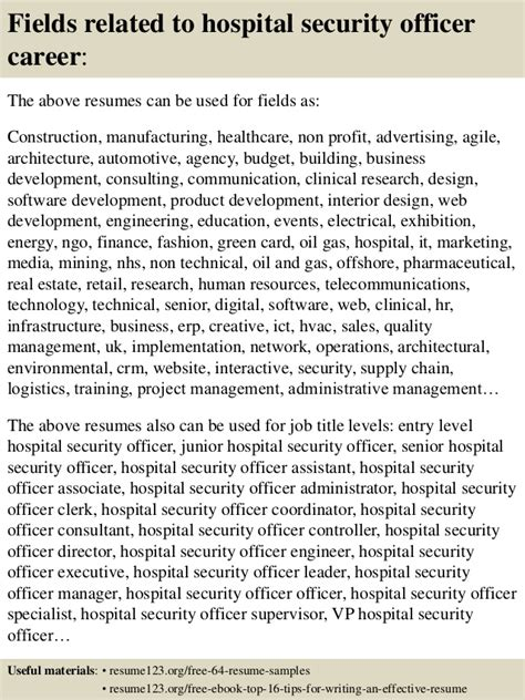 top 8 hospital security officer resume sles