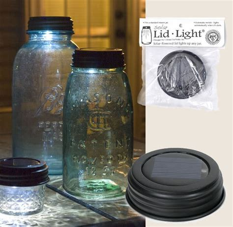 2 solar charged led lid light jar lights rustic