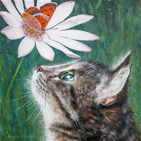 Cat And Butterfly Blank Greetings Card  Karenza Paperie