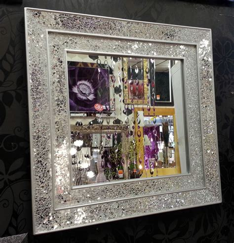 crackle glass mosaic wall mirror square silver frame handmade 68x68cm ebay