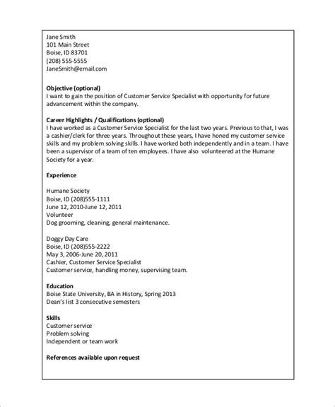 Basic Resume Format by Basic Resume Exle 8 Sles In Word Pdf