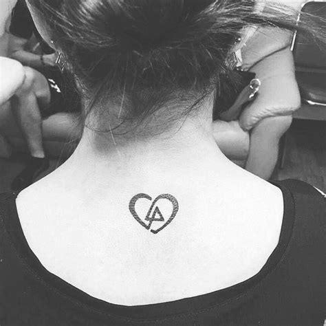 tattoo linkin park heart shaped lp logo  neck