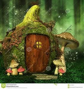 Little Fairy House With Mushrooms Stock Illustration ...