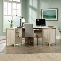 sauder costa l shaped computer desk with hutch in chalked