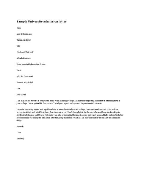 University Admission Letter | Templates at