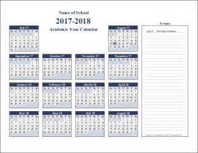2017 2018 Academic Year Calendar Printable