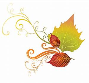Foliage clipart fall decoration - Pencil and in color