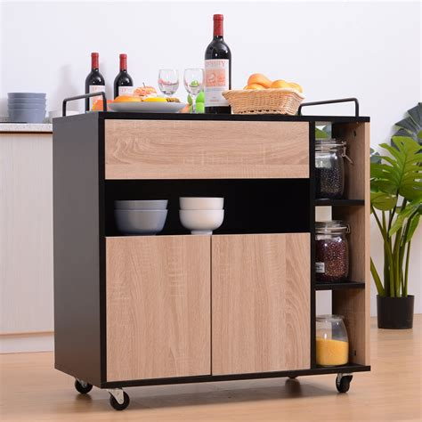 Kitchen Cupboard On Wheels by Homcom Rolling Kitchen Storage Trolley Cart Cupboard