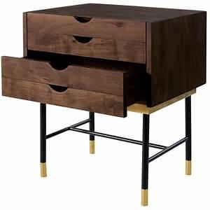 Table De Chevet Metal : table de chevet 4 tiroirs en acacia et m tal noir sterling ~ Melissatoandfro.com Idées de Décoration