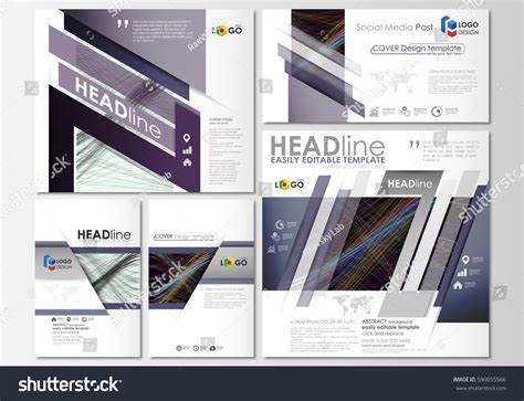 social media post template social media posts set business templates stock vector 590055566