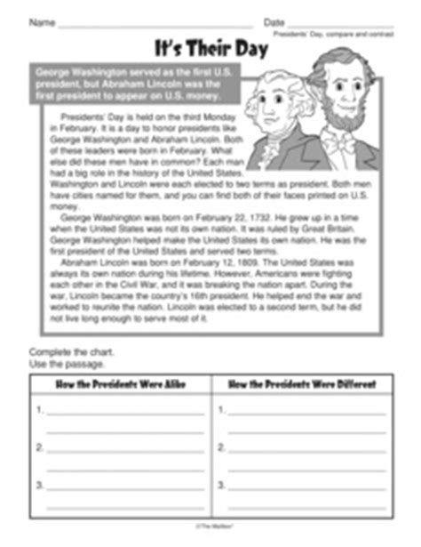 results for compare and contrast worksheets guest the mailbox