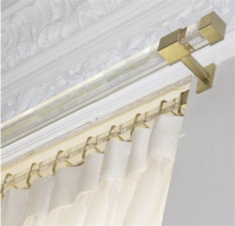 acrylic drapery rods lucite curtain rod custom cut brass gold rectangle acrylic