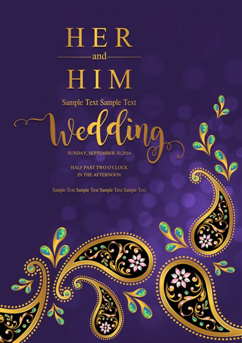 Indian wedding invitation card templates Premium Vector