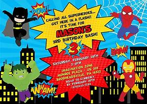 Superhero Birthday Party Invitations Kids Birthday