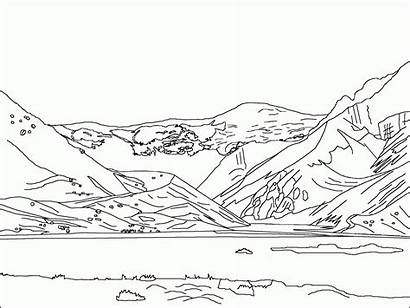 Coloring Mountain Mountains Pages Landscape Scenery Smoky