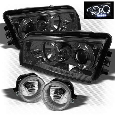 for smoked 06 10 dodge charger halo led projector headlights fog lights l ebay
