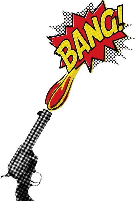 bang gun comic book style shirt design
