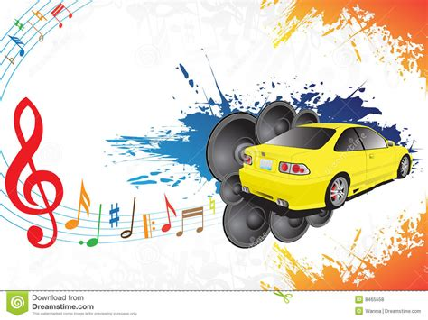 Yellow Car And Music Stock Vector Illustration Of Funky