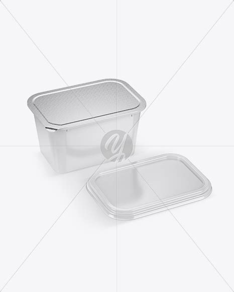 Includes special layers and smart objects for your work. Opened Glossy Plastic Container Mockup - Half Side View in ...