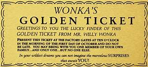 WILLY WONKA GOLDEN TICKET GOLD SIGN WALL ART charlie