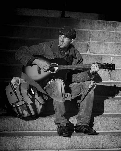 photo people homeless musician street
