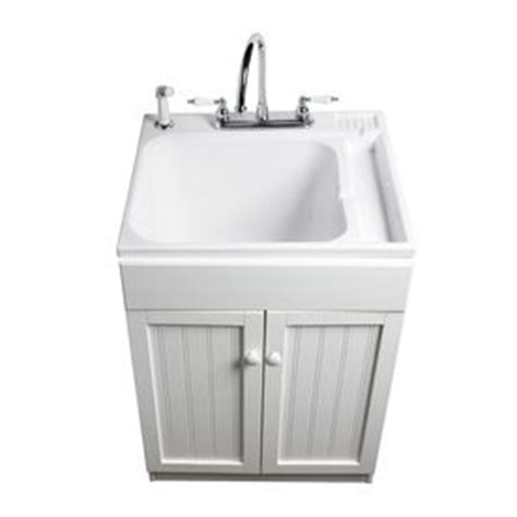 Plastic Laundry Sink With Drainboard by Asb 25 In X 22 In White Freestanding Composite Laundry