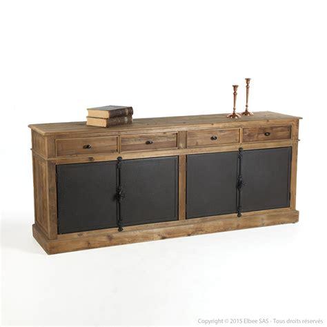 element de cuisine haut buffet bas en bois avec tiroirs et portes en métal