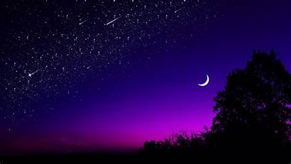 Moon Half Night Starry Sky Stars Nature