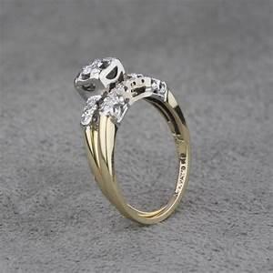 Vintage 14 Karat White and Yellow Gold Diamond Engagement ...