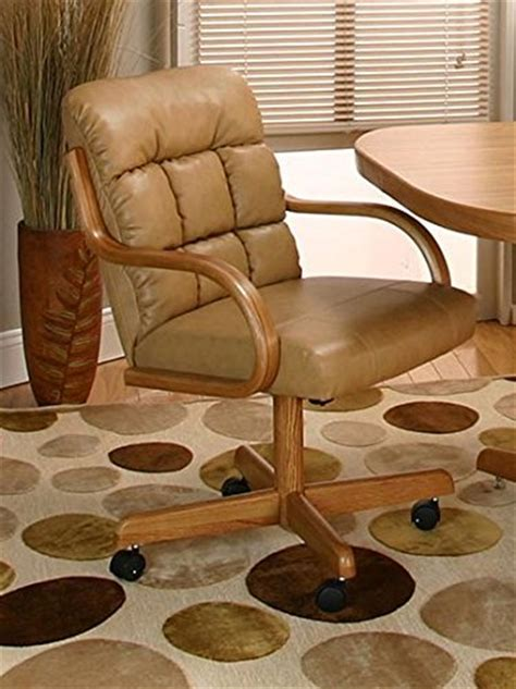 Casual Rolling Caster Dining Chair with Swivel Tilt in Oak