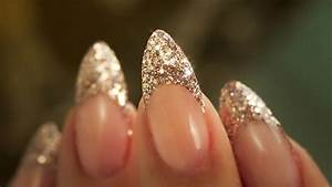 French Almond Glitter - Traditional French Acrylic Nail ...