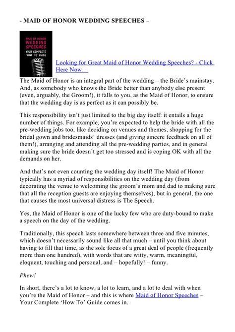 maid  honor speech examples alisen berde