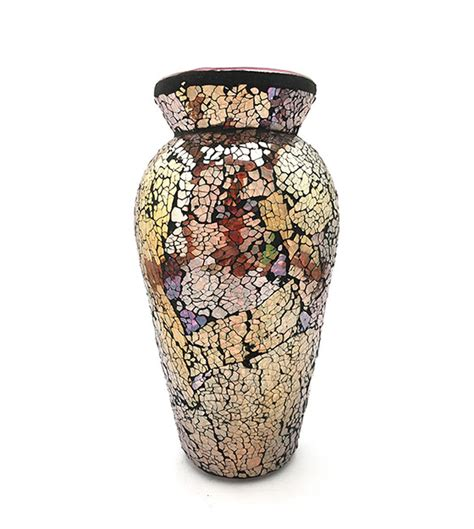 Vasen Len Shop by Yellow Mosaic Glass Vase Handmade Dks
