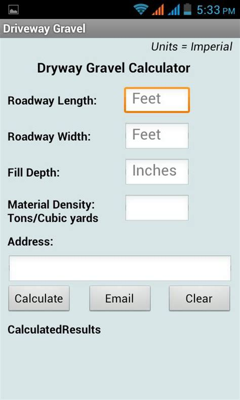 How To Calculate Yards Of Gravel Needed by Driveway Gravel Calculator Android Apps On Play