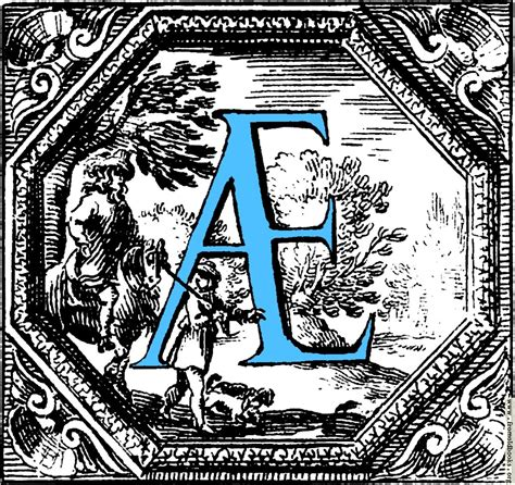historiated decorative initial capital letter ae  blue