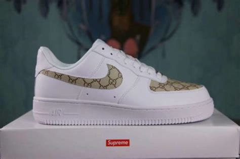 nike air force   lifestyle shoes white gold custom