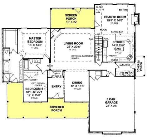 Floor Plans With Hearth Room by 655905 4 Bedroom 3 Bath With Screened Porch And
