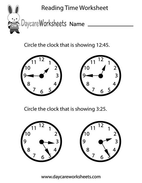 preschool reading time worksheet