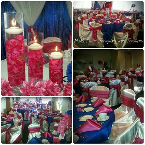 fuschia royal blue and white wedding reception decor