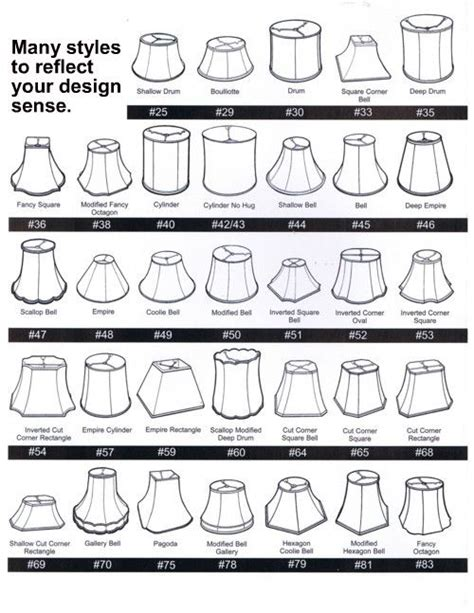 l shade shapes guide l shade style chart design resources pinterest