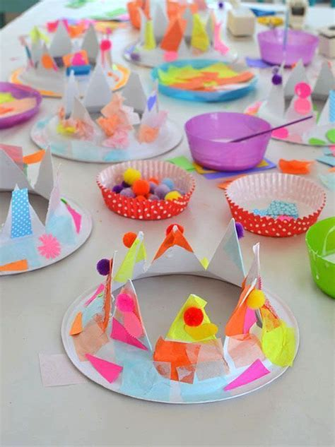 paper plate party hats crown  kids party hats