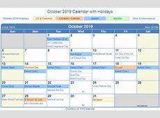 October 2019 Printable Calendar 2018 calendar printable