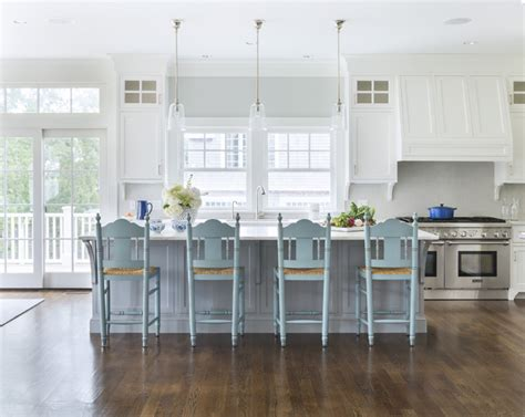 Gray Kitchen Island With Turquoise Blue Stools, Cottage