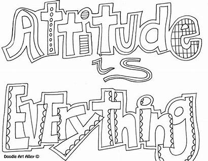 Attitude Doodle Coloring Pages Quote Everything Alley