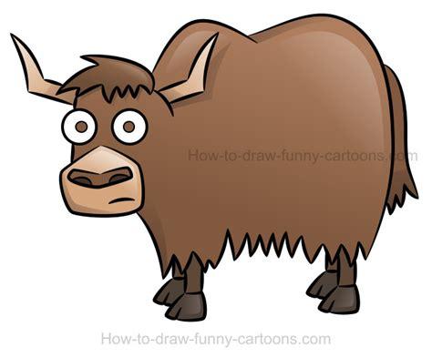 draw  yak cartoon animal